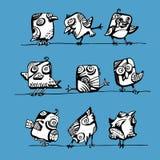Coleção do vetor dos pássaros em um fio Imagens de Stock Royalty Free