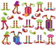 Coleção do vetor dos pés bonitos do duende do feriado do Natal ilustração do vetor