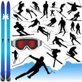 Coleção do vetor e dos equipamentos do esqui Imagem de Stock Royalty Free