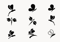 coleção 6 do vetor preto das borboletas e das libélulas ilustração do vetor