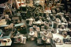 Coleção do vintage das câmeras da câmera Foto de Stock