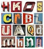 Coleção do vintage das letras de néon Fotografia de Stock