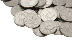Coleção do vintage sul - um Rand Coins africano Imagem de Stock Royalty Free