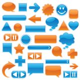 Coleção do Web - azul & laranja Fotografia de Stock Royalty Free