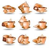 Coleção do Web do ícone do chá do café Imagens de Stock Royalty Free