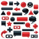 Coleção do Web - vermelho & preto Fotos de Stock Royalty Free
