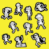 Coleção Doodled dos povos Foto de Stock Royalty Free
