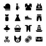Coleção dos ícones dos acessórios de forma ilustração stock