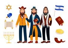 Coleção dos ícones dos caráteres dos judeus dos desenhos animados isolada no fundo branco com símbolos e vetor judaicos dos atrib ilustração royalty free