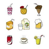 Coleção dos ícones da bebida Ilustração do vetor dos desenhos animados da garatuja fotos de stock