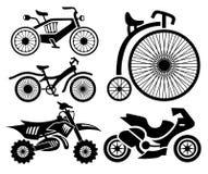 Coleção dos ícones da bicicleta e do velomotor Foto de Stock Royalty Free