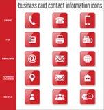 Coleção dos ícones da informações de contato do cartão Imagens de Stock Royalty Free