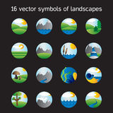 Coleção dos ícones da paisagem Símbolos da natureza Fotos de Stock Royalty Free