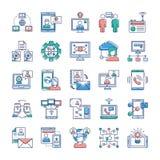 Coleção dos ícones da propaganda, da comunicação e dos trabalhos em rede ilustração do vetor