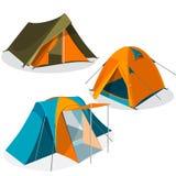 Coleção dos ícones das barracas de acampamento do turista do toldo Caminhando a ilustração do vetor dos pavilhões ilustração do vetor