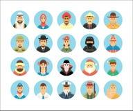 Coleção dos ícones das pessoas Os ícones ajustaram a ilustração de ocupações dos povos, estilos de vida, nações Imagem de Stock Royalty Free