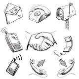 Coleção dos ícones de uma comunicação Fotografia de Stock