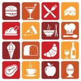Coleção 1 dos ícones do alimento da cor do vetor Foto de Stock