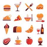 Coleção 1 dos ícones do alimento da cor do vetor Imagem de Stock Royalty Free