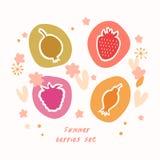 Coleção dos ícones do alimento do grupo de bagas do verão ilustração royalty free