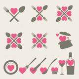 Coleção dos ícones do alimento e da bebida Fotografia de Stock Royalty Free