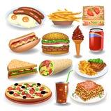 Coleção dos ícones do alimento e da bebida isolada em um fundo branco ilustração do vetor