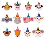 Coleção dos ícones do animal de partido dos desenhos animados Foto de Stock Royalty Free