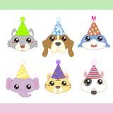 Coleção dos ícones do animal de partido dos desenhos animados Imagens de Stock