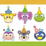 Coleção dos ícones do animal de partido dos desenhos animados Imagem de Stock Royalty Free