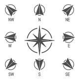 Coleção dos ícones do compasso ilustração royalty free