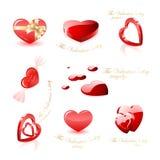 Coleção dos ícones do coração Imagens de Stock