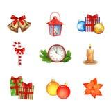 Coleção dos ícones do Natal Imagem de Stock