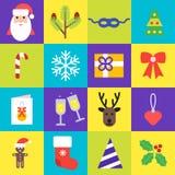 Coleção dos ícones do Natal O grupo de ano novo isolou símbolos no estilo liso Elementos do vetor para seu projeto Fotos de Stock Royalty Free