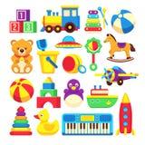 Coleção dos ícones do vetor dos desenhos animados dos brinquedos das crianças Fotografia de Stock Royalty Free