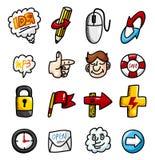 Coleção dos ícones do Web da tração da mão dos desenhos animados Fotografia de Stock