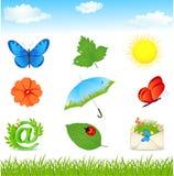 Coleção dos ícones e dos elementos do verão Fotografia de Stock Royalty Free