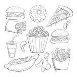 Coleção dos alimentos rápidos do estilo da garatuja vária Grupo do ícone do alimento fotos de stock