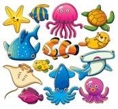 Coleção dos animais de mar Fotos de Stock Royalty Free