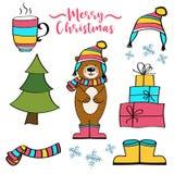 Coleção dos artigos do Natal ilustração stock
