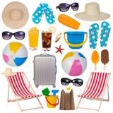 Coleção dos artigos do verão isolada no branco Imagem de Stock Royalty Free