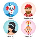 Coleção dos avatars dos povos Grupo liso do ícone do projeto de caráter Ilustração do vetor Fotografia de Stock