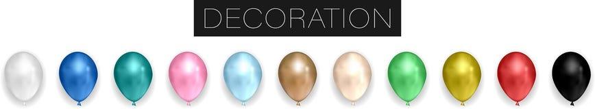Coleção dos balões realísticos do látex do círculo do hélio do vetor isolados no fundo branco ilustração royalty free