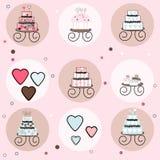 Coleção dos bolos, dos queques e dos corações dos doces Imagem de Stock Royalty Free