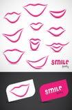 Coleção dos bordos e dos sorrisos Imagem de Stock