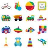 A coleção dos brinquedos em background Grupo liso do ícone dos brinquedos Para a Web e o móbil Fotografia de Stock Royalty Free