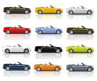 Coleção dos carros 3D modernos coloridos Imagens de Stock