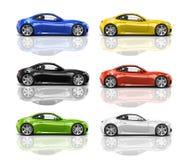 Coleção dos carros 3D modernos coloridos Foto de Stock