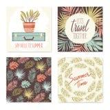 Coleção dos cartões de verão Foto de Stock Royalty Free