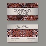 Coleção dos cartões Ornamento para seu projeto com mandala do laço Fundo do vetor Indiano, árabe, motivos do Islã Fotografia de Stock