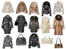 Coleção dos casacos de pele Fotografia de Stock